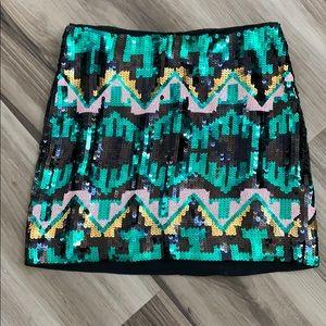 H&M Tribal black/green metallic beaded mini skirt